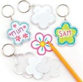 sleutelhangersetss met bloemen die kinderen naar eigen smaak kunnen inkleuren en versieren – Lente-knutselset voor kinderen (6 stuks per verpakking)
