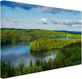 Uitzicht op meren  Canvas 120x80 cm - Foto print op Canvas schilderij (Wanddecoratie)