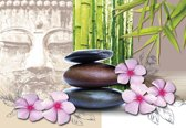 Fotobehang Flowers With Zen Stones | XXL - 312cm x 219cm | 130g/m2 Vlies