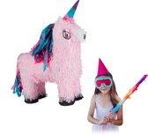 relaxdays Pinata eenhoorn - pinata unicorn - zelf vullen - roze - verjaardag - kinderen