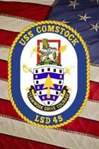 US Navy Dock Landing Ship USS Comstock (LSD 45) Crest Badge Journal