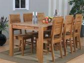 Mark - Eetkamerset - Tafel 180x90 met 6 eiken stoelen - Eiken