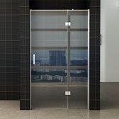 Douchedeur Miami Nisdeur Draaideur met Vaste Wand 100(60-40)x200cm Antikalk Helder Glas Chroom Profiel 8mm Veiligheidsglas Easy Clean