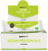 Body & Fit Vegan Protein Bar - Plantaardige eiwitreep - 1 doos (12 eiwitrepen) - Strawberry
