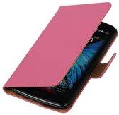 LG K10 Hoesje Effen Bookstyle Roze