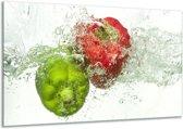 Canvas schilderij Paprika | Groen, Rood, Wit | 120x70cm 1Luik