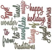 Sizzix Thinlits 16 pcs by Tim Holtz, Holiday Words : Script