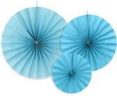 Papieren Waaiers Blauw Set 23-40cm 3 delig