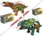 2x DINOSAURUS Speelgoed met licht en geluiden - CERATOPIA + STEGOSAURUS (inl. batterijen)