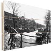 De bevroren Prinsengracht in de winter Vurenhout met planken 60x40 cm - Foto print op Hout (Wanddecoratie)
