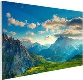 Zonsondergang in de bergen Glas 60x40 cm - Foto print op Glas (Plexiglas wanddecoratie)