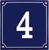 Emaille huisnummer blauw nr. 4