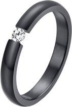 Cilla Jewels edelstaal ring Crystal Black-16mm