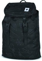 The Pack Society Premium Rugzak - Black With Grey Embroidery