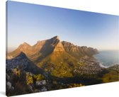 Kaapstad en de Tafelberg in Zuid-Afrika Canvas 80x40 cm - Foto print op Canvas schilderij (Wanddecoratie woonkamer / slaapkamer)