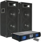 SPL700MP3 DJ PA versterker met USB / MP3 / SD Speler en 2x SM28 PA Luidsprekers 1000W