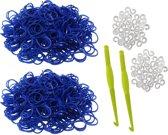 600 Loom Bands met 2 weefhaken en S-clips donker blauw