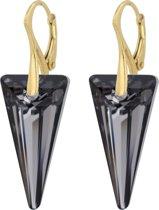 ARLIZI 0903 Oorbellen Swarovski Kristal Spike - Dames - 925 Zilver Verguld - 4 cm - Zwart