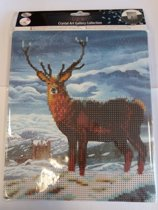 Diamond Painting Crystal Art Kit ® Royal Scot Stag 21x25 cm incl. houten ezel, partial painting