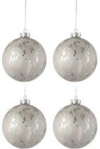 Doos Van 4 Kerstballen Glas Blinkend/Mat Antiek Zilver Large
