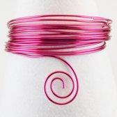 Aluminium draad - Aluminium wire 4mm 2m strong pink - 3 stuk