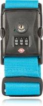 TravelMore Kofferriem met TSA Cijfer Slot - Bagage Riem - Luggage Strap - Kofferband - Gesp - 180 cm - 1 stuk - Blauw