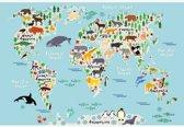 Wereldkaart met dieren op poster voor kinderen 90x60 cm | Wereldkaart Poster