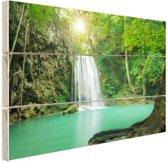 Erawan jungle waterval Hout 120x80 cm - Foto print op Hout (Wanddecoratie)