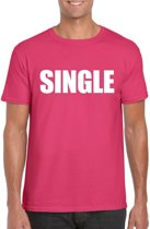 Single/ vrijgezel tekst t-shirt roze heren M