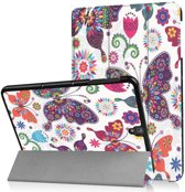 GSMWise - Samsung Galaxy Tab S3 9.7 - Smart Case gemaakt van PU Lederen - Kleurrijke Vlinder - Wit
