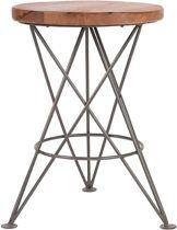 LABEL51 - Kruk Paris Grijs - Mangohout - Metaal - 35x35x52 cm