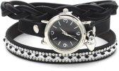 Wikkelarmband met Horloge - Kristallen - Quartz - PU-imitatieleer - Kast 25mm - Zwart - Musthaves