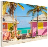 Kleurrijke strandhutjes Caraiben Hout 30x20 cm - klein - Foto print op Hout (Wanddecoratie)