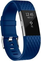 Fitbit Charge 2 siliconen bandje |Navy Blauw / Navy Blue |Diamant patroon | Premium kwaliteit | Maat: M/L | TrendParts