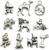 10 stuks metalen bedels / hangers hond