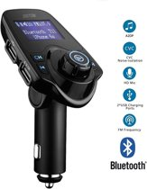 Bluetooth FM Transmitter, 120 ° Rotatie Auto Radio Adapter CarKit met 4 Music Play Modes / Hands-free Bellen / TF Kaart / USB Auto Lader / USB Flash Drive / AUX Input / Output 1.44 inch LCD Display