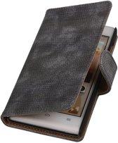 Huawei Ascend G6 4G - Mini Slang Grijs Booktype Wallet Hoesje
