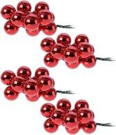40x Mini glazen kerstballen kerststekers/instekertjes rood 2 cm - Rode kerststukjes kerstversieringen glas