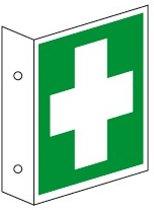 Haaks bord 'Eerste hulp', PERMALIGHT plus, ISO 7010, evacuatiepictogram Zelfklevende hars