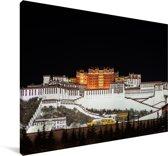 Nachtfoto van het Potalapaleis in China Canvas 60x40 cm - Foto print op Canvas schilderij (Wanddecoratie woonkamer / slaapkamer)