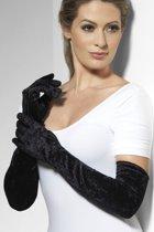 Zwarte lange handschoenen fluweel