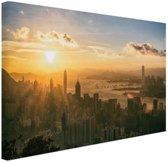 Hong Kong zonsondergang Canvas 180x120 cm - Foto print op Canvas schilderij (Wanddecoratie woonkamer / slaapkamer) XXL / Groot formaat!