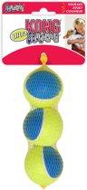 Kong Ultra SqueakAir Ball - Hond - Speelgoed - Medium - 3 ballen - Geel/Blauw