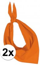 2x Zakdoek bandana oranje - hoofddoekjes