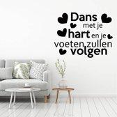 Muursticker Dans Met Je Hart En Je Voeten Zullen Volgen -  Rood -  60 x 48 cm  - Muursticker4Sale