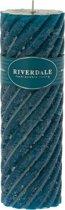 Riverdale Swirl - Candle - 7.5x23cm - zeegroen