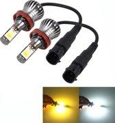 2 STKS H11 6 W 400LM Auto LED driekant COB Chips Lamp Mistlamp Lamp Vervanging, (Wit Licht + Geel Licht)
