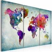 Schilderij - Wereldkaart - Wereld in Kleuren, 3luik