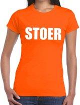 Stoer tekst t-shirt oranje dames S