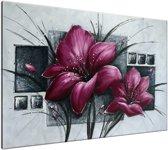 Schilderij handgeschilderd Bloemen | Paars , Grijs | 120x70cm 1Luik